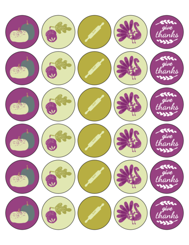 "OL2088 - 1.5"" Circle - Decorative Thanksgiving Leftover Seal Circle Labels"
