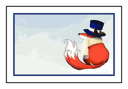 "OL145 - 6"" x 4"" - Winter Wonderland Fox Write-In Gift Tag Labels"