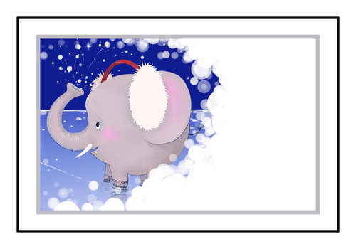 Winter Wonderland Elephant Write-In Gift Tag Labels pre-designed label template for OL1347
