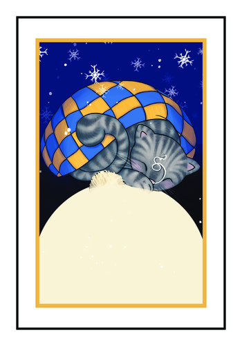 "OL145 - 6"" x 4"" - Winter Wonderland Cat Write-In Gift Tag Labels"