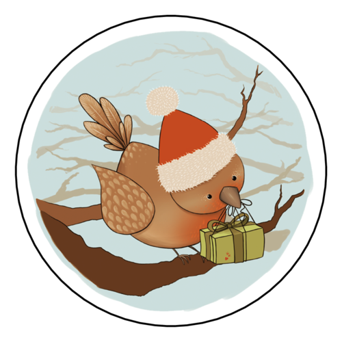 Winter Wonderland Bird Decorative Gift Labels (Circle)