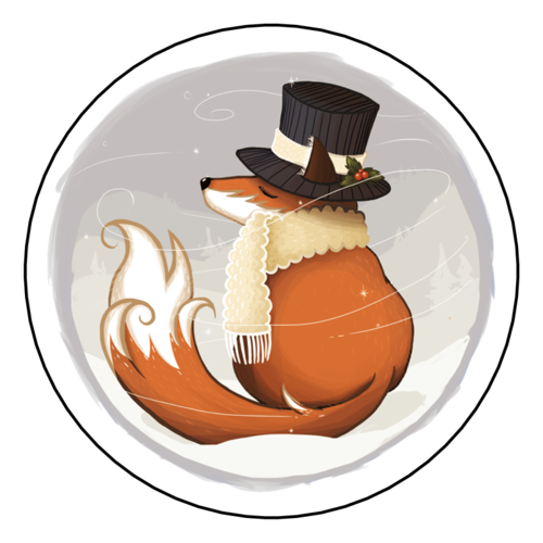 "OL350 - 2.5"" Circle - Winter Wonderland Fox Decorative Gift Labels"