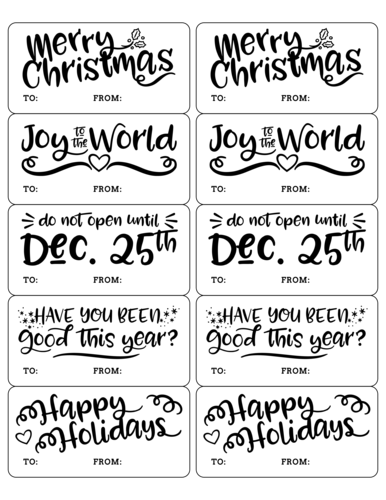 Christmas holiday sayings, printable sticker template for delivering gifts