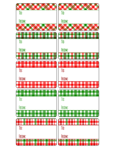 "OL996 - 3"" x 2"" - Assorted Plaid Gift Tag Labels"