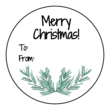 """Merry Christmas"" Pine Needle Circle Gift Tag Labels"