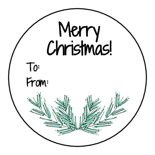 "OL5375 - 2"" Circle - ""Merry Christmas"" Pine Needle Circle Gift Tag Labels"