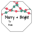 """Merry & Bright"" Octagon Gift Tag Labels"