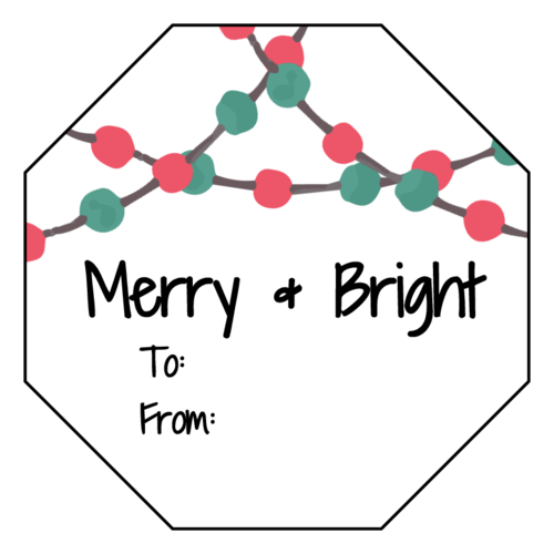 """Merry & Bright"" Octagon Gift Tag Labels pre-designed label template for OL1185"