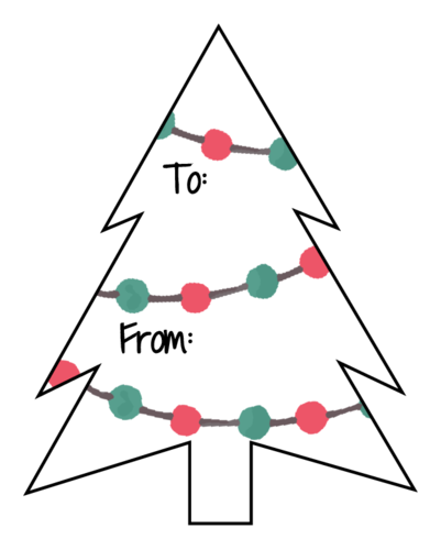 Christmas Tree Gift Label Template