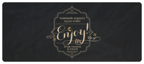 """Enjoy!"" Fall Food Gift Wrap-Around Labels (Round Corner Rectangle)"