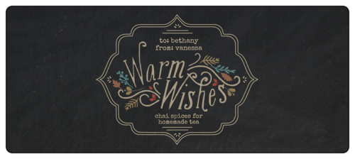 "OL394 - 4.5"" x 2"" - ""Warm Wishes"" Fall Food Gift Wrap-Around Labels"