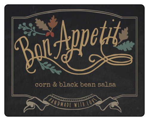 """Bon Appetit"" Fall Food Gift Labels (Round Corner Rectangle)"