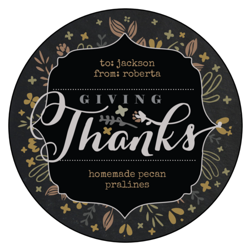 """Giving Thanks!"" Fall Food Gift Circle Labels pre-designed label template for OL375"