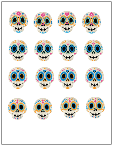 Colorful sugar skull label template for cupcake toppers on Day of the Dead or Halloween
