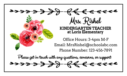 Red apple contact info magnet template for teachers