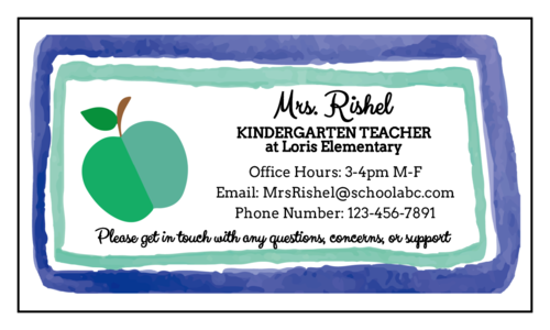 Green apple contact info magnet template for teachers