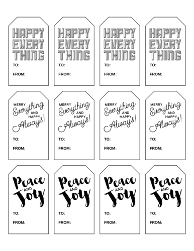 Happy everything holiday gift tags that don't mention Christmas or Hanukkah for general well wishes