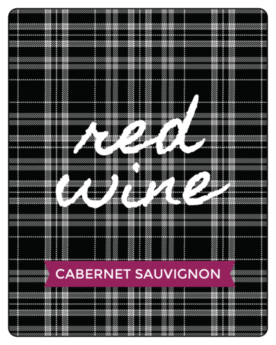 """Red Wine"" Plaid Fall Wine Bottle Labels (Round Corner Rectangle)"