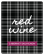 """Red Wine"" Plaid Fall Wine Bottle Labels"