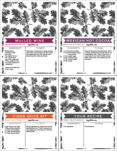 """OL423 - 4.25"""" x 5.5""""  - Assorted Warm Fall Beverage Cardstock Recipe Cards"""