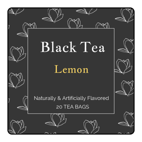 Floral Black Tea Labels (Round Corner Rectangle)