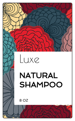 Floral Shampoo Bottle Labels (Round Corner Rectangle)