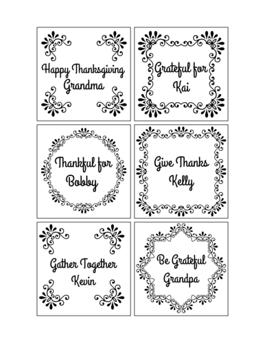 "OL805 - 3"" x 3"" Square - Thanksgiving Table Setting Labels"