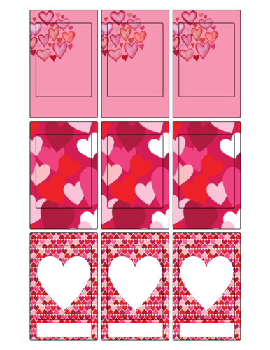 Various pink, red, and white heart designs for use with FujiFilm camera photos
