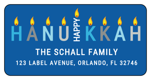 "OL125 - 4"" x 2"" - Happy Hanukkah Address Label"