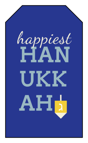 "OL1763 - 1.75"" x 3"" - Happiest Hanukkah Gift Tag Label"
