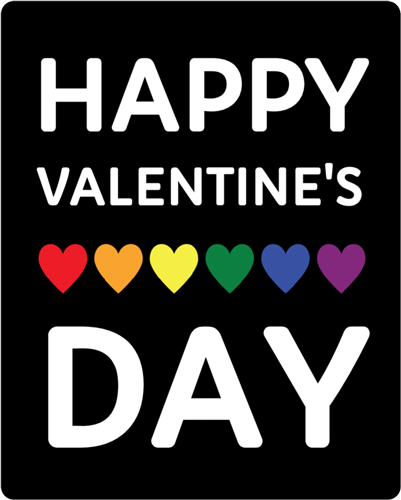 "OL475 - 4"" x 5"" - ""Happy Valentine's Day"" Rainbow Heart Wine Bottle Label"