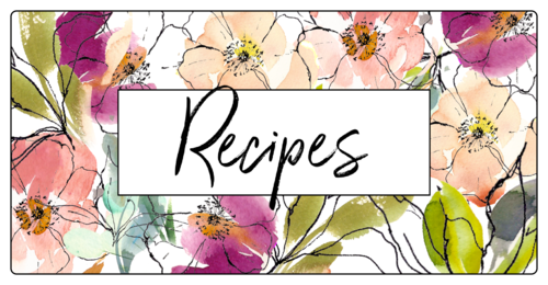 "OL318 - 6"" x 3"" - Floral Recipe Book Labels"