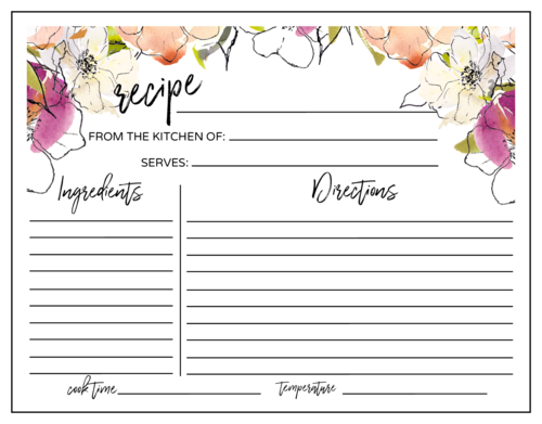 Floral recipe sticker template for placing on oven recipes