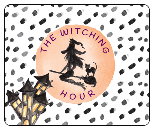 """Witching Hour"" wine bottle label template for Halloween"