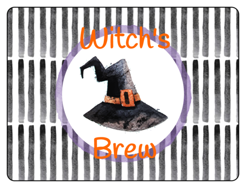 "OL1028 - 3"" x 2"" - ""Witch's Brew"" Festive Halloween Bottle Labels"