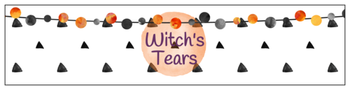 """Witch's Tears"" Festive Halloween Water Bottle Labels (Square Corner Rectangle)"