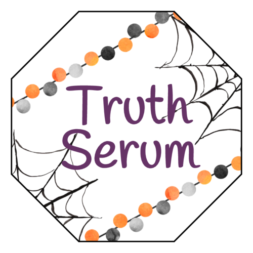 "OL1185 - 2.5"" x 2.5"" - ""Truth Serum"" Festive Halloween Labels"