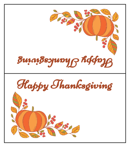 "OL1443 - 3.5"" x 2"" - ""Happy Thanksgiving"" Festive Table Tent Cards"
