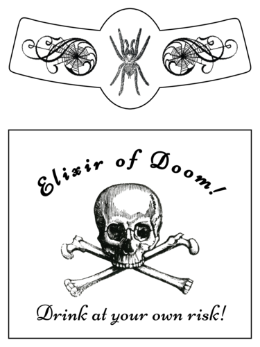 Skull and crossbones beer bottle label template for Halloween