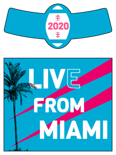 Miami-themed beer bottle label template for the big game, super football Sunday