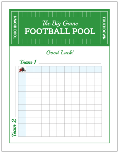 "OL267 - 8.5"" x 11"" - ""The Big Game Football Pool"" Party Game Poster"