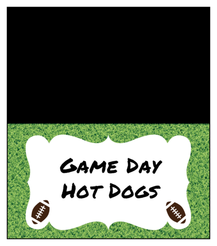 Snack bag label template for the big game, super football Sunday - football field grass with footballs