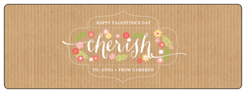 """Cherish"" Valentine's Day Champagne Bottle Labels (Round Corner Rectangle)"
