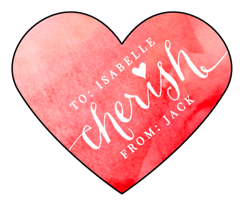 "OL196 - 2.2754"" x 1.8872"" - ""Cherish"" Valentine's Day Heart Labels"