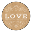 """Love"" Kraft Style Valentine's Day Circle Labels"
