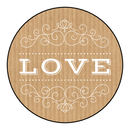 "OL5375 - 2"" Circle - ""Love"" Kraft Style Valentine's Day Circle Labels"