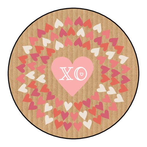 "OL5375 - 2"" Circle - ""XO"" Valentine's Day Circle Labels"
