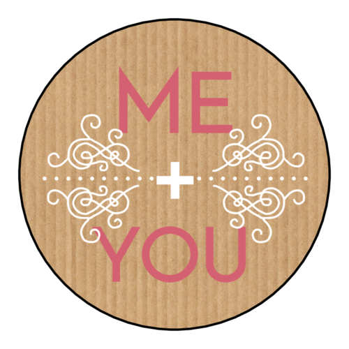 """Me + You"" Valentine's Day Circle Labels (Circle)"