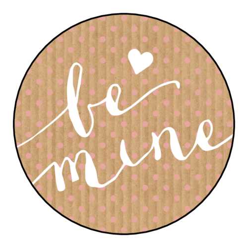 "OL5375 - 2"" Circle - ""Be Mine"" Valentine's Day Circle Labels"
