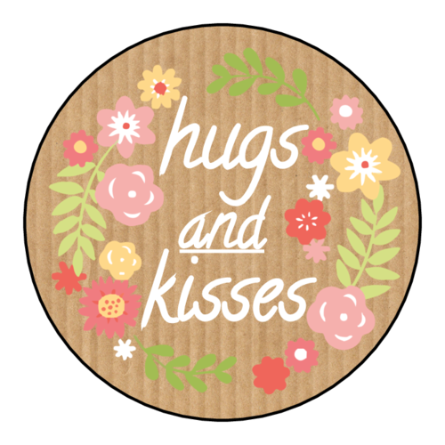 "OL5375 - 2"" Circle - ""Hugs and Kisses"" Valentines Day Circle Labels"